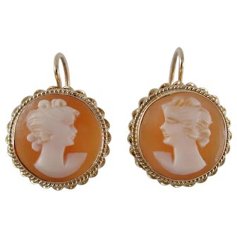 1970s Shell Cameo Earrings in 14K Gold