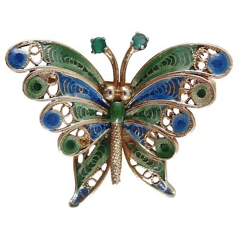 1960s 14k Gold Filigree and Enamel Butterfly Brooch with Emeralds