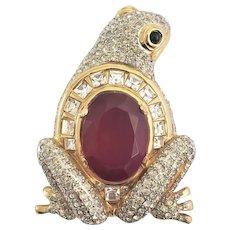 1980s Huge Valentino Garavani Pavé Rhinestone Frog Brooch