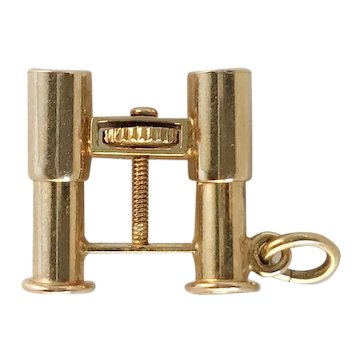 14k Gold French Stanhope Binocular Souvenir Charm with Images of Los Angeles and Miami Beach from the 30s-40s