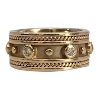 1980s Byzantine Style 14K Gold Wide Cigar Band with .18ct Diamonds
