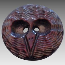 Antique Carved Abalone Shell Owl Face Button