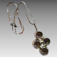 Scandinavian Swedish modernist sterling silver amethyst pendant necklace