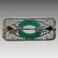 Vintage Art Deco Ostby Barton Sterling Silver Filigree Enamel Convertible Pin Brooch Pendant