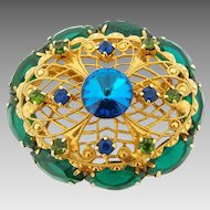 Vintage Green & Blue Filigree Rivoli Rhinestone Brooch Pin