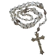 Vintage Sterling Silver Bell Shaped Crystal Beads Creed Rosary