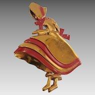 Unusual Vintage 1940's Sunbonnet Sue Big Skirt Lady Brooch Pin