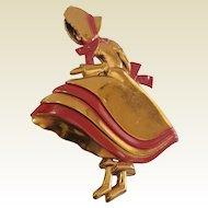 Unusual Vintage Large Figural 1940's Sunbonnet Sue Big Skirt Lady Brooch Pin