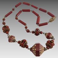 Vintage Art Deco Era Czech Carnelian Glass Bead Necklace