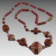 Vintage Art Deco Era Czech Carnelian Glass Bead Necklace
