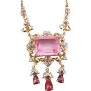Vintage Signed Coro Pretty In Pink Fancy Emerald Cut Rhinestone Necklace