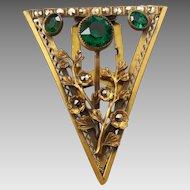 Large Vintage Gilt Brass Marcasite Green Glass Triangle Floral Dress Clip