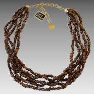 Vintage Hobe Bronze Glass Five Strand Necklace Original Tags