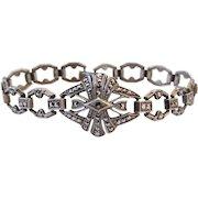Vintage Art Deco Era Sterling Silver Marcasite Bracelet