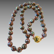 Vintage Ornate Chinese Cloisonne Floral Bead Necklace