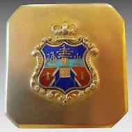 Vintage Gilt Sterling Silver Enamel Coat of Arms Brooch Pin