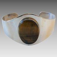Vintage Sterling Silver Tiger Eye Modernist Cuff Bracelet