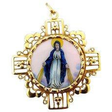 Vintage Spanish 14K Gold Filigree Enamel Catholic Religious Miraculous Mary Sacred Heart Medal