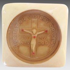 Vintage WWI WWII Military Meditation Victory Crucifix Celluloid Pocket Shrine
