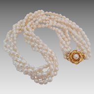 Vintage Fresh Water Cultured Pearl Torsade Bridal Wedding Necklace Rose Clasp