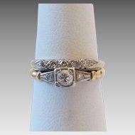 Vintage 14k Gold Diamond Engagement Ring Wedding Band Set