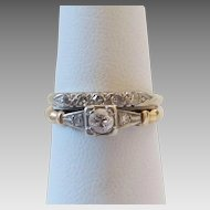 Vintage 14k Gold Diamond Engagement Ring Wedding Band Set