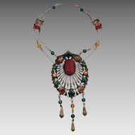 Colorful Filigree Czech Glass Stone Festoon Necklace