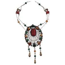 Colorful Filigree Czech Glass Stone Festoon Necklace