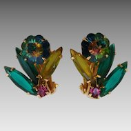 Vintage Juliana D&E Marguerite Watermelon Rivoli Flower Rhinestone Clip Earrings