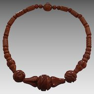 Yummy Vintage Carved Caramel Bakelite Bead Necklace