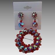 Vintage Hobe Red Aurora Borealis Crystal Christmas Wreath Pin and Clip Earrings Set