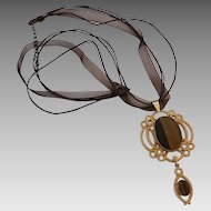 Vintage Big Bold Goldtone Tiger Eye Pendant On Cord Necklace