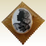 Vintage Large Chunky Reverse Carved Apple Juice Bakelite with Applied Porcelain Silhouette Portrait Painting Pin Brooch