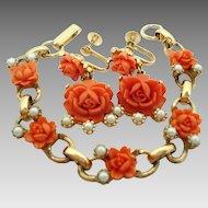 Orange Coral Colored Celluloid Roses Bracelet Screwback Dangle Earrings Set