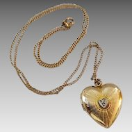 Vintage Gold Filled  Heart Locket Pendant With Tiny Diamond On Chain