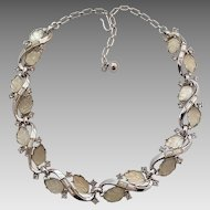 Vintage Trifari Silvertone Carved Glass Leaves Rhinestone Necklace