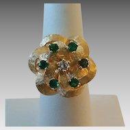 "Vintage 14k Gold Diamond Emerald Rosette Swirl Ladies Ring Size 6 3/4"""