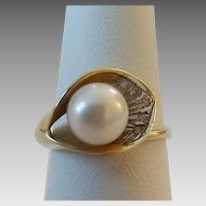 Vintage 14k Gold Cultured Pearl Calla Lily Ring Size 7 3/4