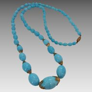 Vintage 1930's Czech Aqua Turquoise Colored Glass Bead Necklace