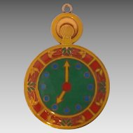 Vintage Copper Colorful Enamel Work Pocket Watch Design Pendant