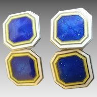 Vintage Art Deco Era Sterling Silver Blue Enamel Foster & Bailey Cufflinks