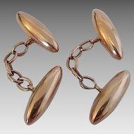 Vintage German Edwardian Era 8 Karat Gold Torpedo Cufflinks