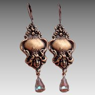 Artisan Art Nouveau Lady Floral German Saphiret Glass Leverback Earrings