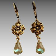 German Saphiret Glass Flower Dangle Leverback Earrings