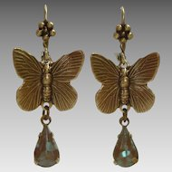 German Saphiret Glass Butterfly Figural Dangle Leverback Earrings