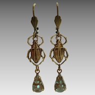 German Saphiret Glass Beetle Figural Dangle Leverback Earrings