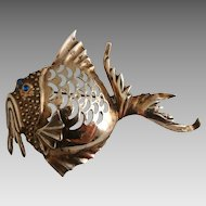 Vintage 1940's Sterling Silver Big Fun Fish Figural Pin Brooch