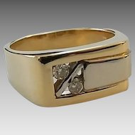 Vintage 14k Two Toned Gold Diamond Modernist Ring Men's Pinkie Ring Size 6