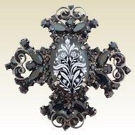 Vintage Juliana D&E Black Rhinestone Maltese Cross White Transfer Floral Pin Brooch