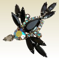 Juliana D&E Bird In Flight Jet Black Aurora Borealis Rhinestone Figural Brooch Pin